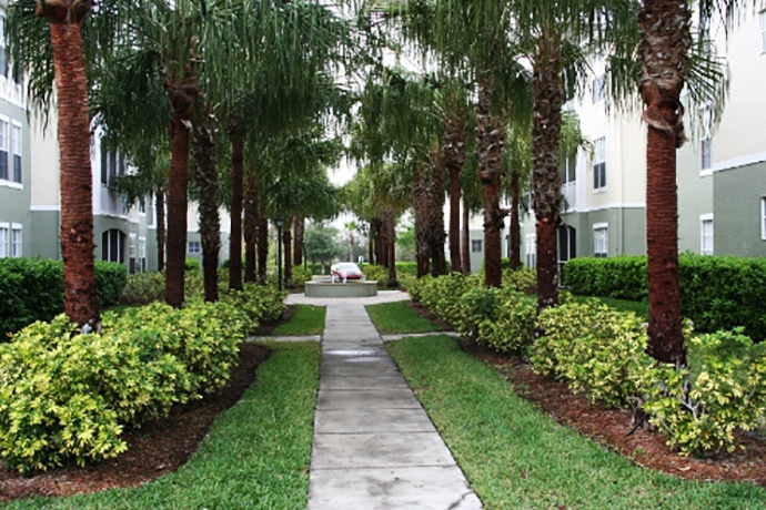 Pathway on corporate property that is maintained by Creative Edge Landscape & Lawn Car.